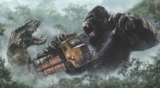 King Kong grabs a truck as a giant dinosaur lunges toward him in the Skull Island: Reign of Kong ride.